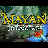 Logo of the Mayan Treasures free online slot. If you click the picture, you'll be taken to a page where you can play the Mayan Treasures slot.