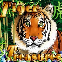 Logo of the Tiger Treasures free online slot. If you click the picture, you'll be taken to a page where you can play the Tiger Treasures slot.