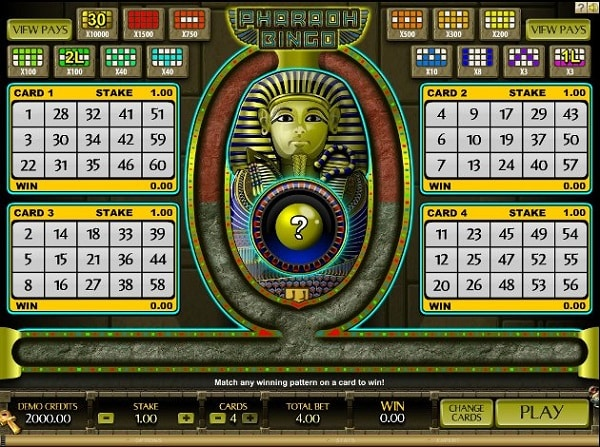 Screenshot of a free online Bingo game with a Pharaof theme.