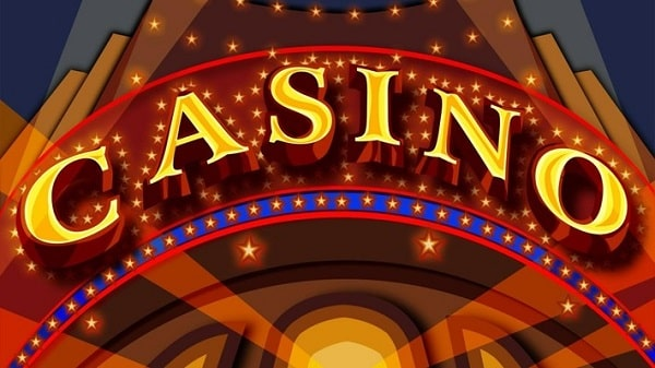 Stylized image of the entrance of a casino for playing free online casino games.