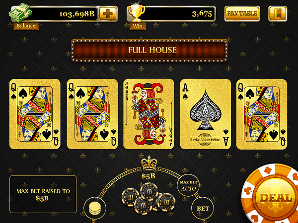 Screenshot of an online video poker game showing full house.