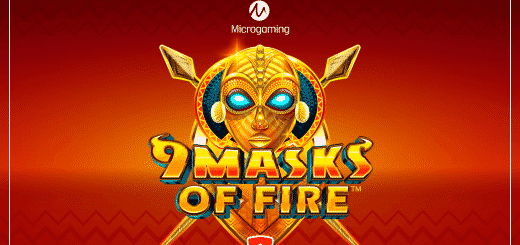 This is the header image of the webpage, where you can play the 9 Masks of Fire Microgaming online slot. On the picture is an Aztec golden ceremional mask with glowing blue eyes, over a red background, with the text 9 Masks of Fire.