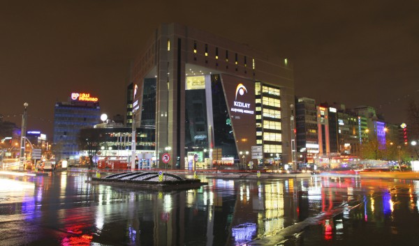 The picture was taken in Ankara, Turkey during nighttime. There are no casinos in Ankara, the capitol of Turkey since 1998 and the photo depicts a casino that was converted to an office building after the ban.
