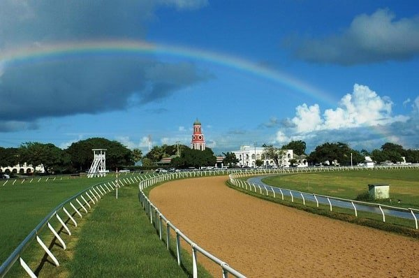 A picture of a rainbow over Garrison Savannah race track in Barbados.