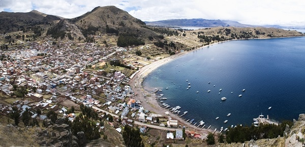 This is a picture of the Copacabana beach, located in Bolivia.