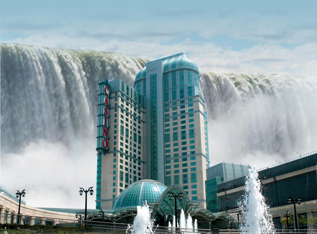 This a picture of Fallsview Casino Resort, located in Canada. This Canadian casino is situated near the Niagara Falls (,which can be seen in the background). You can read about gambling in Canada below the picture.