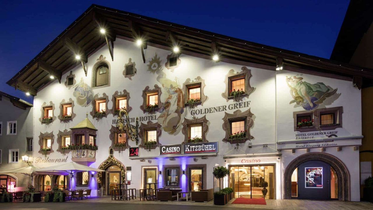 """This is a picture of the entrance of Austria's Casino Kitzbühel. This is the the header image of my guide to gambling and online gambling in Australia. Under the picture you can read about the various laws and regualtions governing gambling in Austria, including digital gambling, or """"Glückspiele"""" how the Austrians call it."""