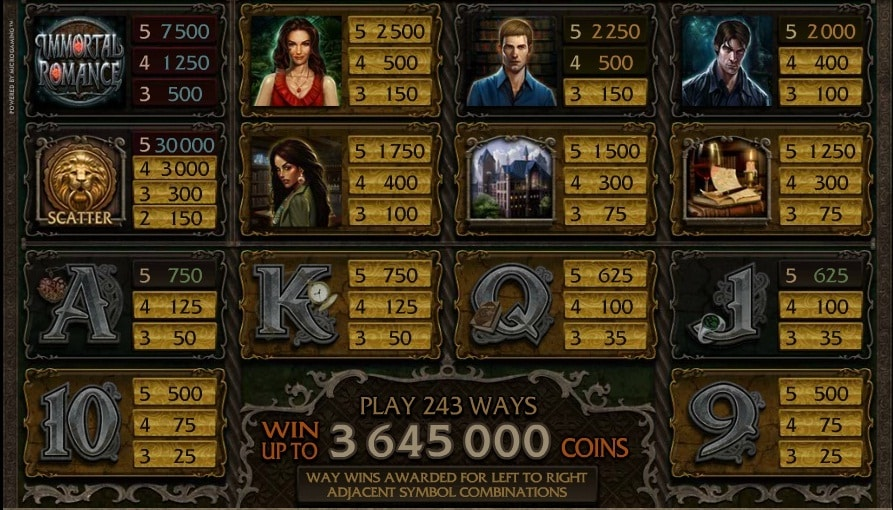 The picture shows you the paytable and the winning combinations in the Immortal Romance online slot game