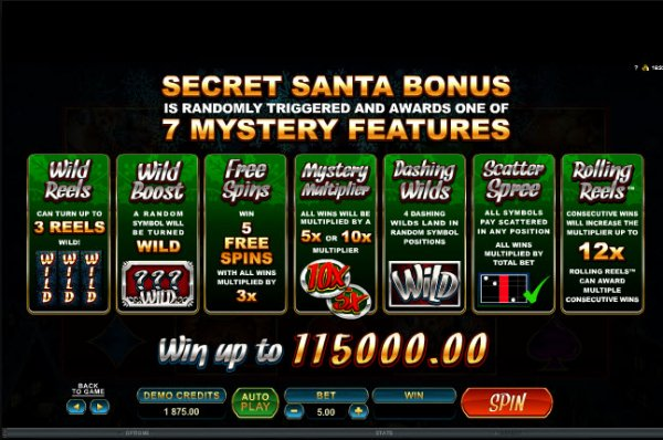 The picture shows you the bonus features in the Secret Santa online slot game