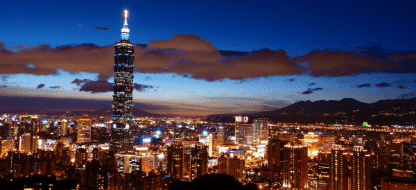 The skyscape of Taipei, the capital of Taiwan. It's a huge, metropolitan city, but it doesn't have any casinos, as all forms of gambling in Taiwan are prohibited by law.
