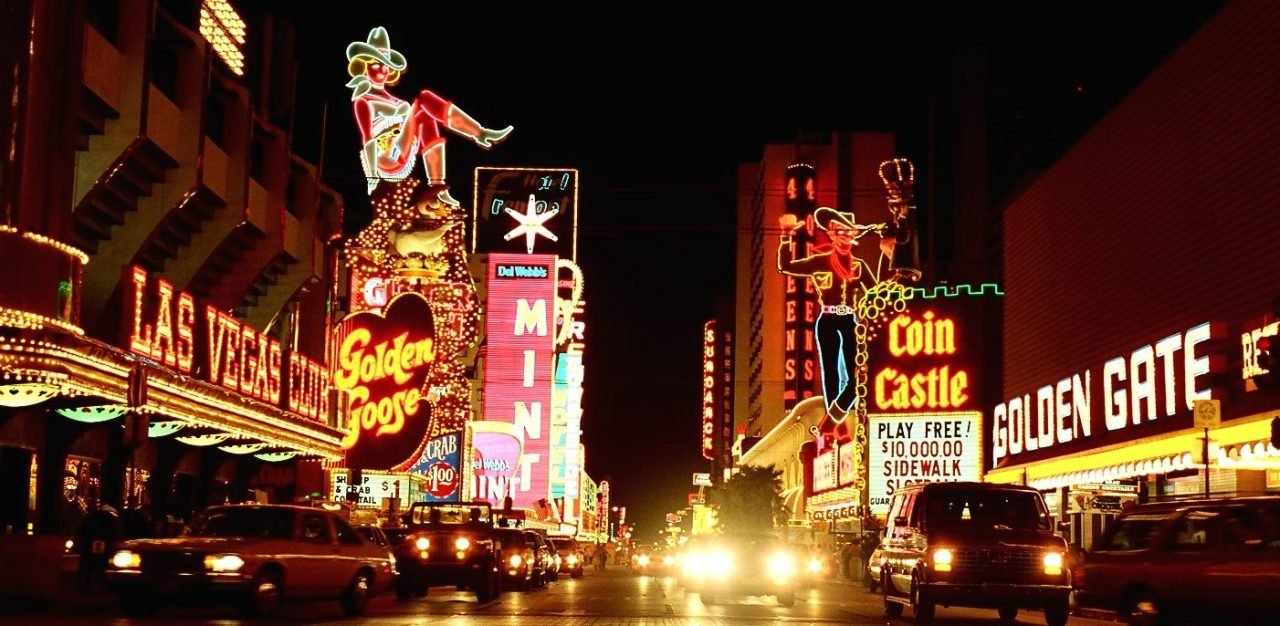 This a picture of various neon signs of casinos at night in Las Vegas. On this page you can find detailed information about gambling, online gambling, bingo, online bingo, non-profit bingo, poker, online poker, sports betting, wagering, online lottery and bitcoin gambling laws, rules, legislation in all 50 states of the United States of America.