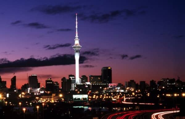 This is a picture of the Sky Tower, part of the Skycity Casino in New Zealand (actually the biggest casino in all of New Zealand). The picture was taken at night in Auckland, the largest city of New Zealand.