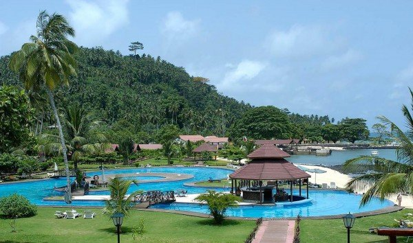 This is a picture of one of the many beach resorts in Sao Tome and Principe.