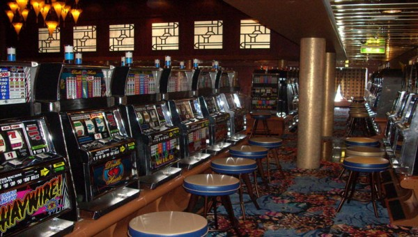 This is a picture of slot machines inside a casino in Equatorial Guinea.