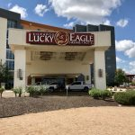 This is a picture of the front gate of Kickapoo Lucky Eagle Casino Hotel, this is Texas' biggest casino. Next to the picture you can read about the gambling establishments, the legal status of online casinos, crypto casinos and tribal casinos in TX, taxation of winnings and legal gambling age in the state.