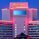 This is a picture of the main building of Mystic Lake Casino Hotel, which is the biggest land-based casino of Michigan, and the biggest Indian gambling establishment in MN. Next to the picture you can read about the gambling establishments, the legal status of online casinos, crypto casinos and tribal casinos in Michigan, and taxation of winnings, legal gambling age.
