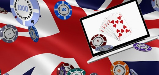 The British flag with chips and a laptop overlapping it - an illustration to my Casino and Online Casino Guide - UK