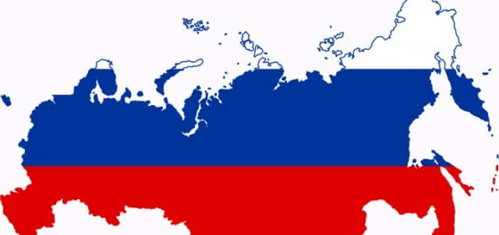A picture of the map of Russia overlain with the Russian flag. An illustration to my guide about Russian casinos and gambling in Russia.