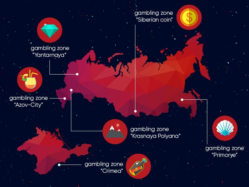 A picture of a map displaying the four zones with legal gambling in Russia. Only in these four zones are there legal Russian casinos.