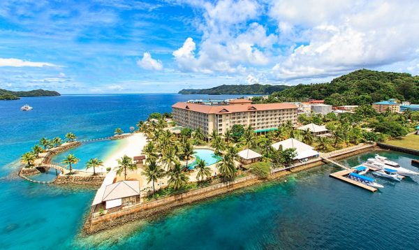 The picture shows a city in Palau. Gambling is illegal in Palau