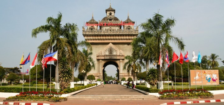 Picture of the Patuxai or Victory Gate located in the capital city of Laos, Vientiane. Gambling in Laos is considered illegal outside the special economic zones.