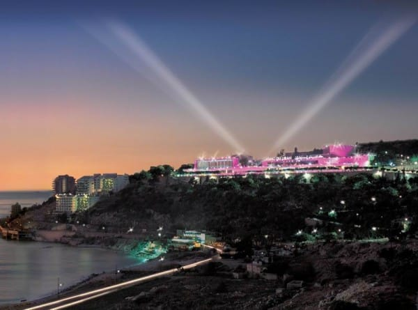 Picture of the lit up Casino Du Liban in Lebanon.