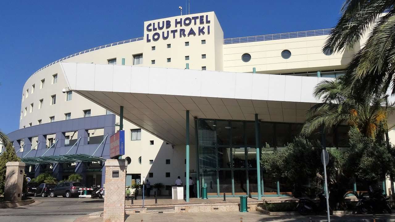 This is a picture of the building of Club Hotel Loutraki, in Greece, photographed from the front entrance during daytime. Under this picture you can read about the various forms of gambling in Greece.