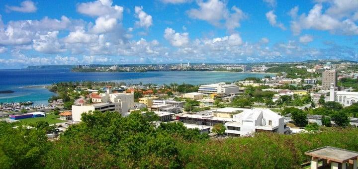 Picture of Guam's capital of Hagåtña. Gambling is illegal in Guam, however, online gambling is not regulated.