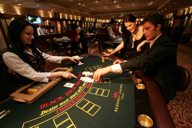 Gambling table in the Regency Casino in Tirana, the capital of Albania