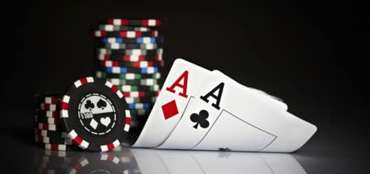 Chips and cards representing online poker bonuses