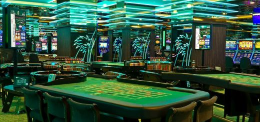 Interior of the Las Vegas Casino Tropicana in Budapest with neon lights