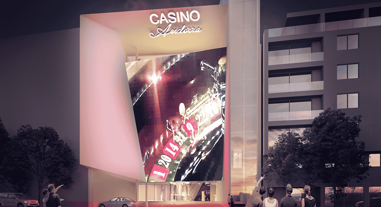 The picture depicts the planned look and design of Casino Andorra at Prat de la Creu in Andorra la Vella, Andorra's first and so far only casino. On this page, under the picture, you will can read about the legal status and taxation of casino in Andorra. Additionally, you can find info about the licensing of gambling establishments, slot halls, and a list of online casinos, which accept players from the Principality of Andorra.