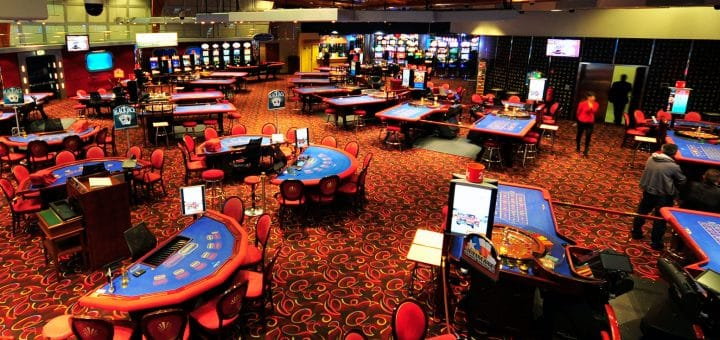 Interior of the Perla Casino in Hotel in Nova Gorica, Slovenia with gaming tables