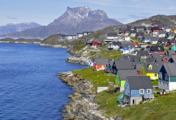 Nuuk, the capital of Greenland with a mountain in the background