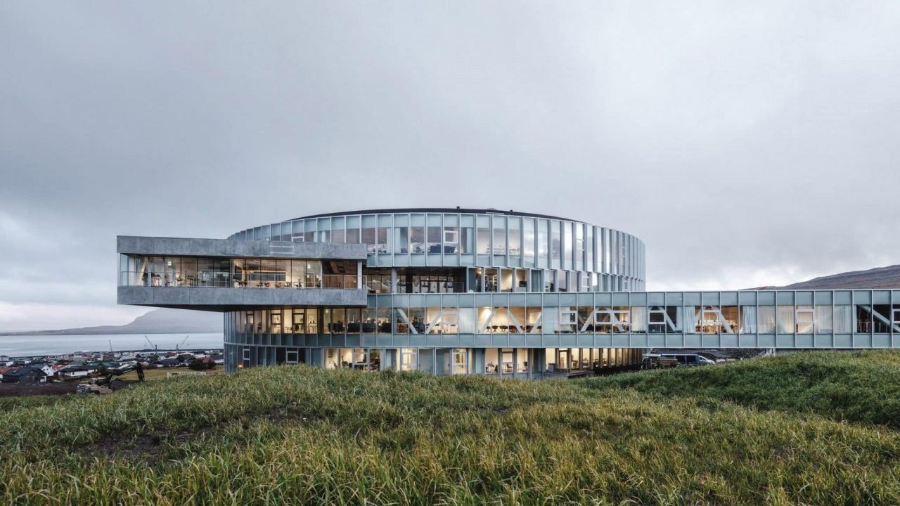 This is a picture of the vortex-shaped Glasir education centre in Faroe Islands' capital Tórshavn. Under the picture you can read about casinos and online casinos in the Faroe (Faeroe) Islands.