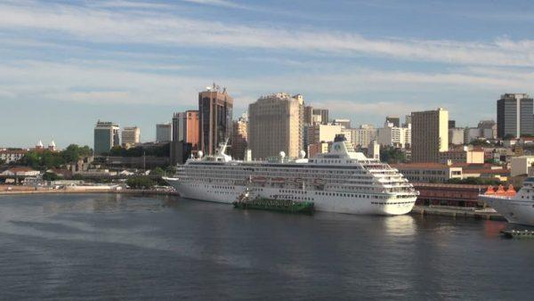 Cruise ship moored in the port of Rio de Janeiro