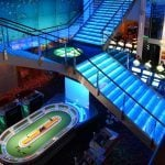 This is a picture of the interior, the main set of stairs and the huge digital screen on the inside of the Grand Casino Helsinki, Finland's biggest casino. You can read about the casino to the right and can find the address there.