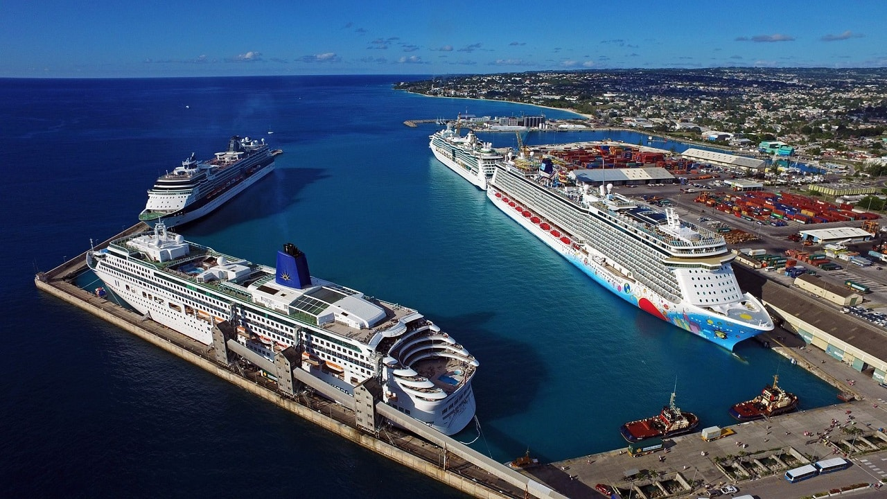 This is an aerial, drone picture of the Bridgetown cruise port in Barbados, where cruise ships dock, many of the bigger luxury cruise ships have casinos. On this page, you can find information about the taxation, licensing process, legal status, legislation of gaming venues, slot halls, in Barbados, and a list of licensed online casinos, which accept players from the country.