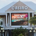 This is a picture of the front entrance of Casino Bateliere Plaza, the current biggest casino in Martinique. This is the first element of this list of all 2 casino gambling establishments in Martinique. You can find the other gambling establishment on this list below this one. To the right of the picture you can read more about this casino.