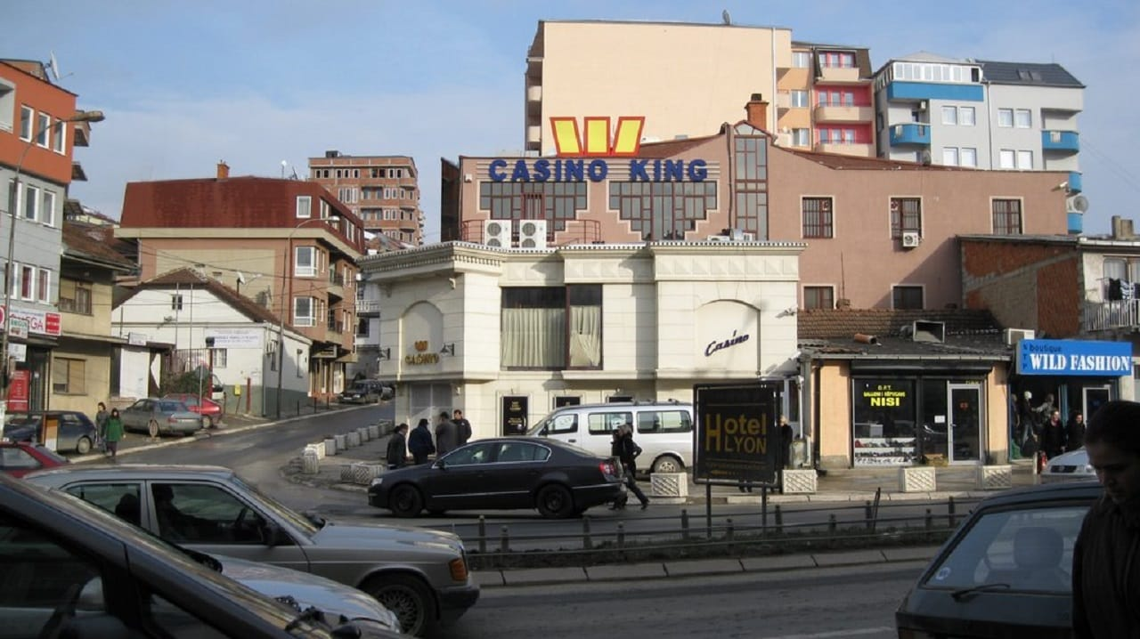 View of Pristina, the capital of Kosovo. On the picture you can see the building and billboard of King casino, which used to be Pristina's and Kosovo's biggest casino up until 2019, before gambling became illegal.
