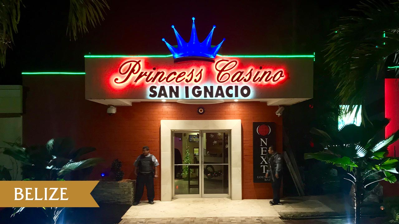 This is a picture of the front gate of Princess Casino San Ignacio, the biggest casino in Belize. On this page, you can find information about the taxation, licensing process, legal status, legislation of gaming venues, slot halls, in Belize, and a list of licensed online casinos, which accept players from the country.