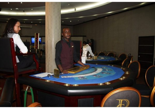 Gaming table in the Casino Kinshasa, Congo