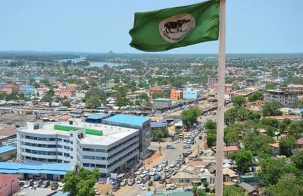 Juba, the capital of South Sudan with South Sudanese flag