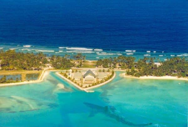 Aerial view of Tarawa, the main atoll of Kiribati