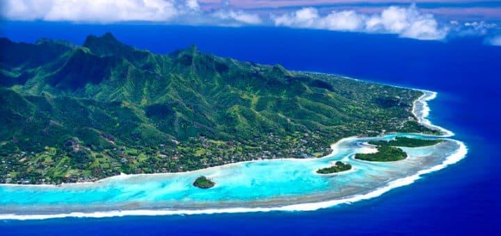 Coast of Rarotonga, the largest island in the Cook islands