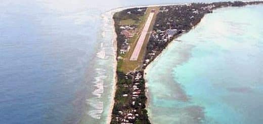 Aerial view of Funafuti, the capital of Tuvalu
