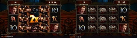 This is a screen capture of Dark Matter slot showing both the free spins wild and regular wild features of the game.