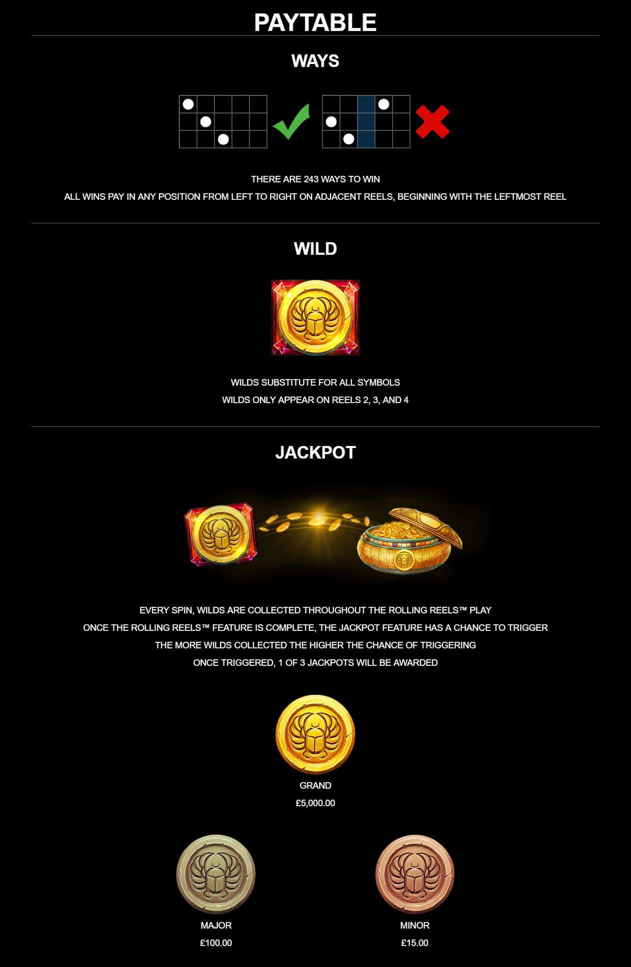 This is an image from the paytable of the Lara Croft Temples and Tombs slot explaining the various special features, wilds and free spins of the game.