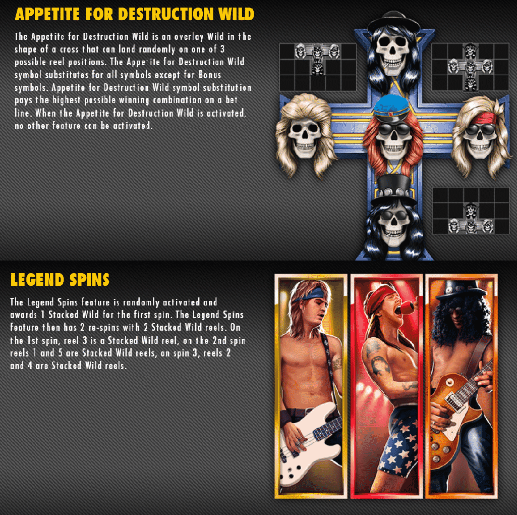 This is a screencap from the video slot explaining two special bonus features: appetite for destruction wild and the legend spins bonus game.. Look below the picture for a detailed explanation.