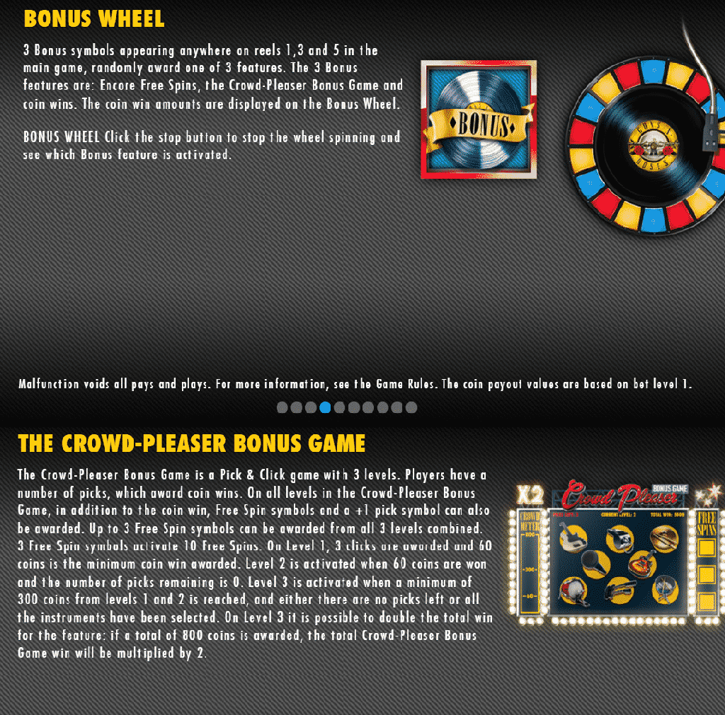 This is a screencap from the video slot explaining two special bonus features: the bonus wheel and the crowd-pleaser bonus game.. Look below the picture for a detailed explanation.